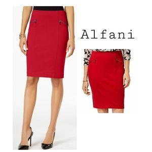 Alfani Ponte Knit Pencil Skirt Red zipper skirt.